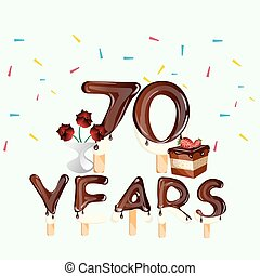 70 years Happy Birthday card
