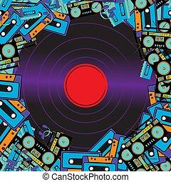 70s, 60s, 90s., cinta, 80s, antiquarian, audio, vector, marcos, registradores, textura, electrónica, viejo, retro, ilustración, músicos, aparatos, registros, vinilo, hipster, cassettes