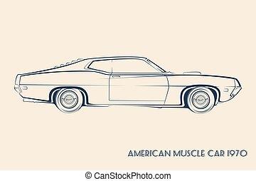 70s, coche, silueta, norteamericano, músculo