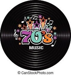 70s, música, vector, discography., ilustración