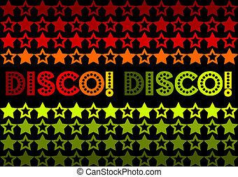 Disco! Disco! - 70s Retro design featuring stars and text...