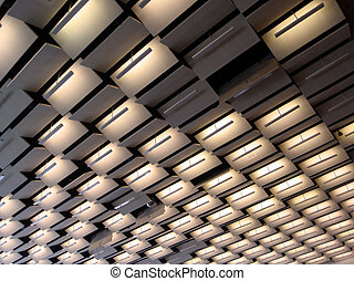 70's style convention hall lighting