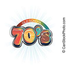 70s, vendimia, viejo, escuela, imagen, logotipo