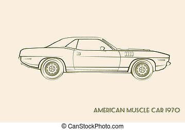 70s, voiture, silhouette, américain, muscle