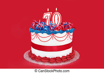 70th Cake - 70th cake with numeral candles, on vibrant red...