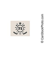 71 number vector illustration. Ice Hockey Emblem