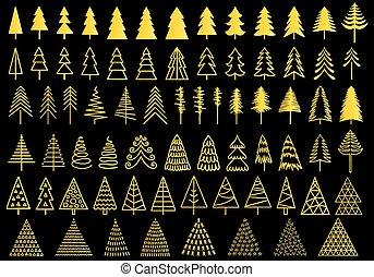 72 gold Christmas trees, vector set