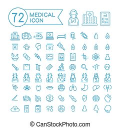 72 medical icons set
