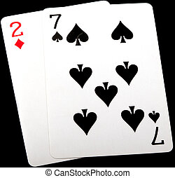 7,2, seven deuce - seven deuce, worst starting hand in texas...