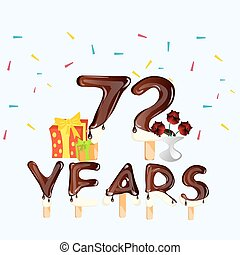 72 Years Happy Birthday card