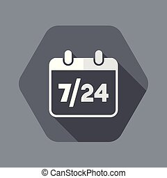 7/24 availability calendar - Vector web icon - Flat and...