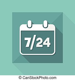 7/24 availability calendar - Vector web icon
