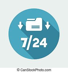 7/24 download data - Vector web icon