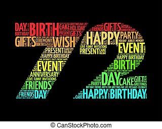72nd, aniversário, palavra, nuvem, feliz