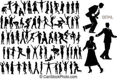 73, vector, silhouettes, van, mensen