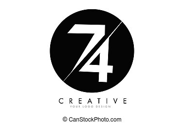 74 7 4 Number Logo Design with a Creative Cut and Black ...