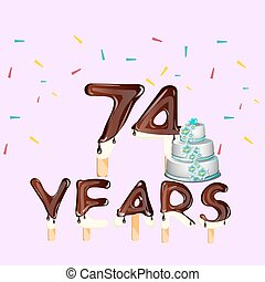 74 Years Happy Birthday card