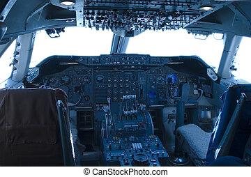 747 Cockpit - The complex world of a 747 jumbo-jet cockpit.
