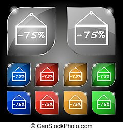 75 discount icon sign. Set of ten colorful buttons with glare. Vector