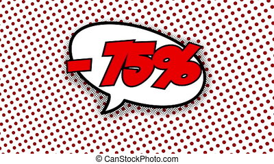 75 percent discount text in speech balloon in comic style...