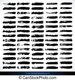 75 VECTOR DRY GRUNGE BRUSHES - Set of grunge brushes. Design...