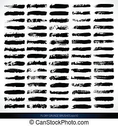 75 VECTOR DRY GRUNGE BRUSHES - Set of grunge brushes. Design...