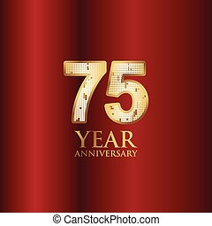 75 Year Anniversary Gold With Red Background Vector Template Design Illustration