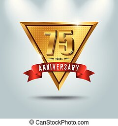 75 years anniversary celebration logotype. Golden anniversary emblem with red ribbon. Design for booklet, leaflet, magazine, brochure, poster, web, invitation or greeting card.
