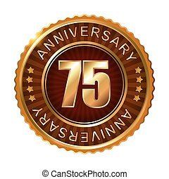 75 years anniversary golden brown label.