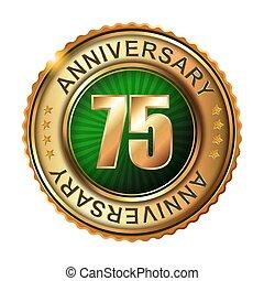 75 years anniversary golden label.