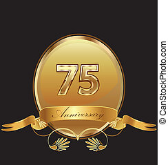 75th anniversary birthday seal in gold design with bow icon vector (kid birthday celebration)