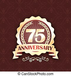 75th gold anniversary label with ribbon and laurel wreath.