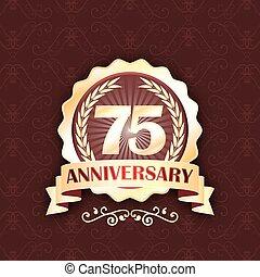 75th, or, anniversaire, wreath., étiquette, laurier, ruban