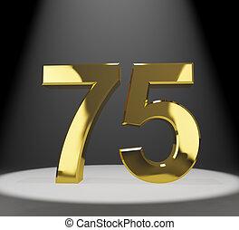 75th, or, anniversaires, nombre, anniversaire, closeup, représenter, ou, 3d