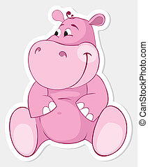 764-Pink behemoth - Pink behemoth. Vector sticker
