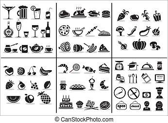77, alimento y bebida, iconos, conjunto