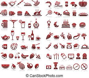 77, alimento y bebida, iconos, conjunto, para, fondo blanco