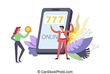 777, 以联机方式, 赌博, 游戏, 使用, 因特网, 在以前, 电话, 矢量