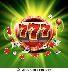 777, 取得胜利, 娱乐场, 背景。, 绿色, 大, 狭缝, 旗帜