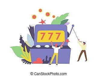 777, 赌徒, 同时,, 机器, 为, 赢得钱, 隔离, 矢量