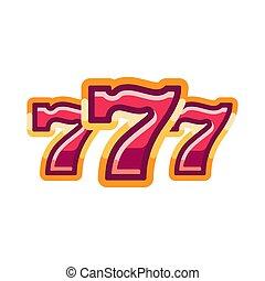 777 isolated symbol. Casino flat illustration