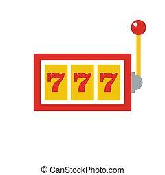 777, jackpot, 图标, -, 娱乐场, 赌博, -, 机器, 狭缝, -, 套间, 矢量, 描述, 隔离, 在怀特上, 背景。