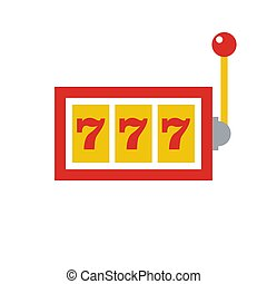 777 jackpot icon - casino gambling - machine slot - flat vector illustration isolated on white background.