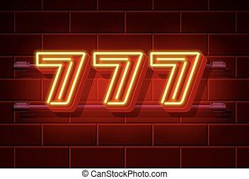777, kasino, tafel, gewinner, neon, dreifach, sevens.