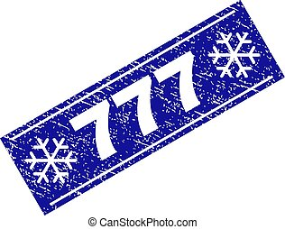 777 Scratched Rectangle Stamp Seal with Snowflakes