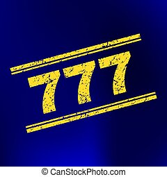 777 Scratched Stamp Seal on Gradient Background
