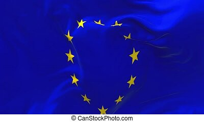 78. European Union Flag Waving in Wind Continuous Seamless Loop Background.