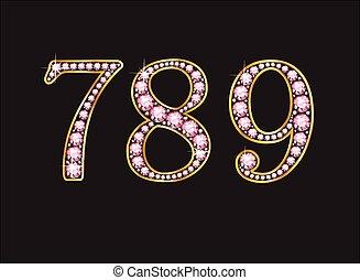 789 Rose Quartz Jeweled Font with G