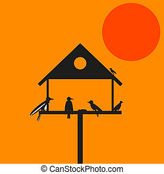 79-Birds on Birdhouse