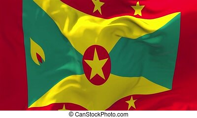 79. Grenada Flag Waving in Wind Continuous Seamless Loop Background.